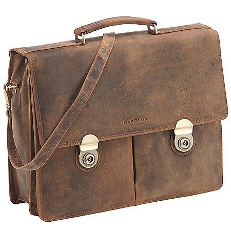 Harolds Antik Aktentasche mit Laptopfach aus Leder 41 cm