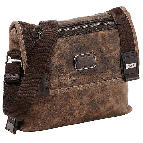 Tumi Alpha Bravo Leather Beale Umhängetasche aus Leder 29 cm brown