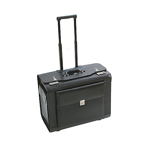 dermata business pilotenkoffer auf rollen xl aus leder schwarz koffer. Black Bedroom Furniture Sets. Home Design Ideas