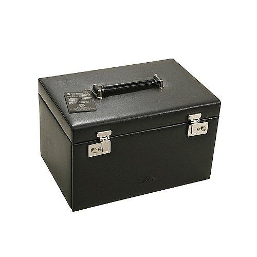 Windrose Ambiance Schmuckkoffer / Uhrenkoffer 3 Etagen aus Leder - schwarz Preisvergleich