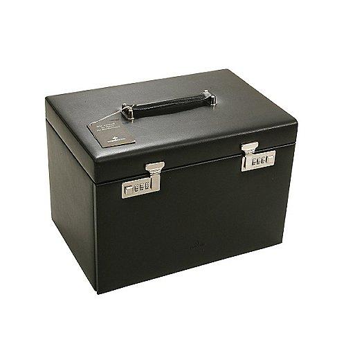 Windrose Ambiance Schmuckkoffer / Uhrenkoffer 5 Etagen aus Leder - schwarz