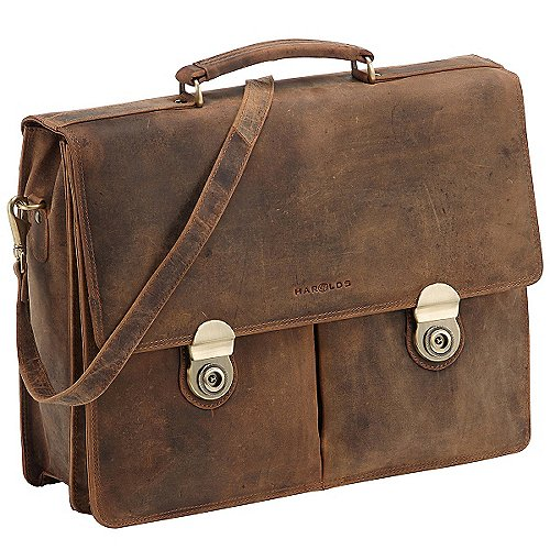 Harolds Antik Aktentasche mit Laptopfach aus Leder 41 cm - natur bei Koffer-Direkt.de