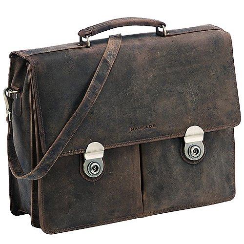 Harolds Antik Aktentasche mit Laptopfach aus Leder 41 cm - taupe bei Koffer-Direkt.de