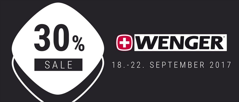 Nur vom 18.-22. September gibt es 30% Rabatt auf alle Wenger Artikel!